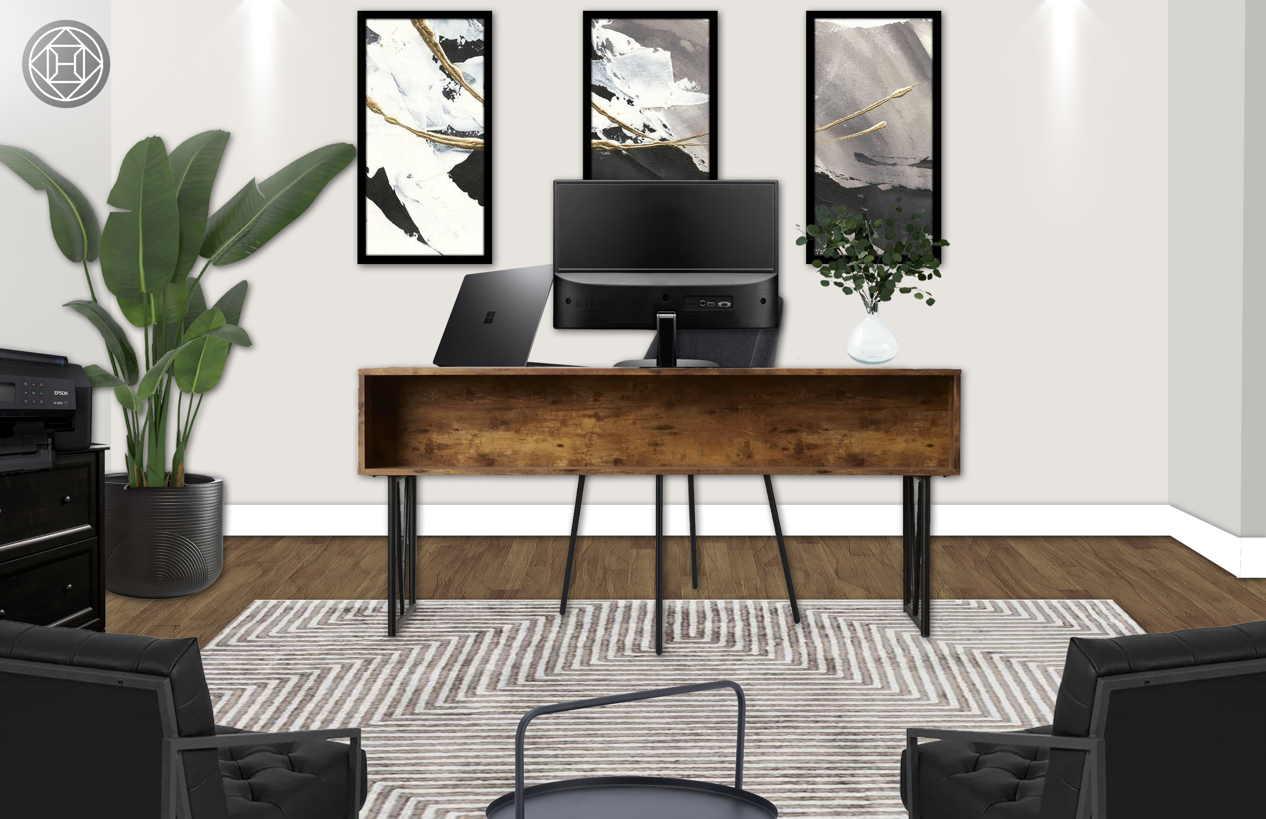 Industrial, Midcentury Modern Office Design by Havenly Interior