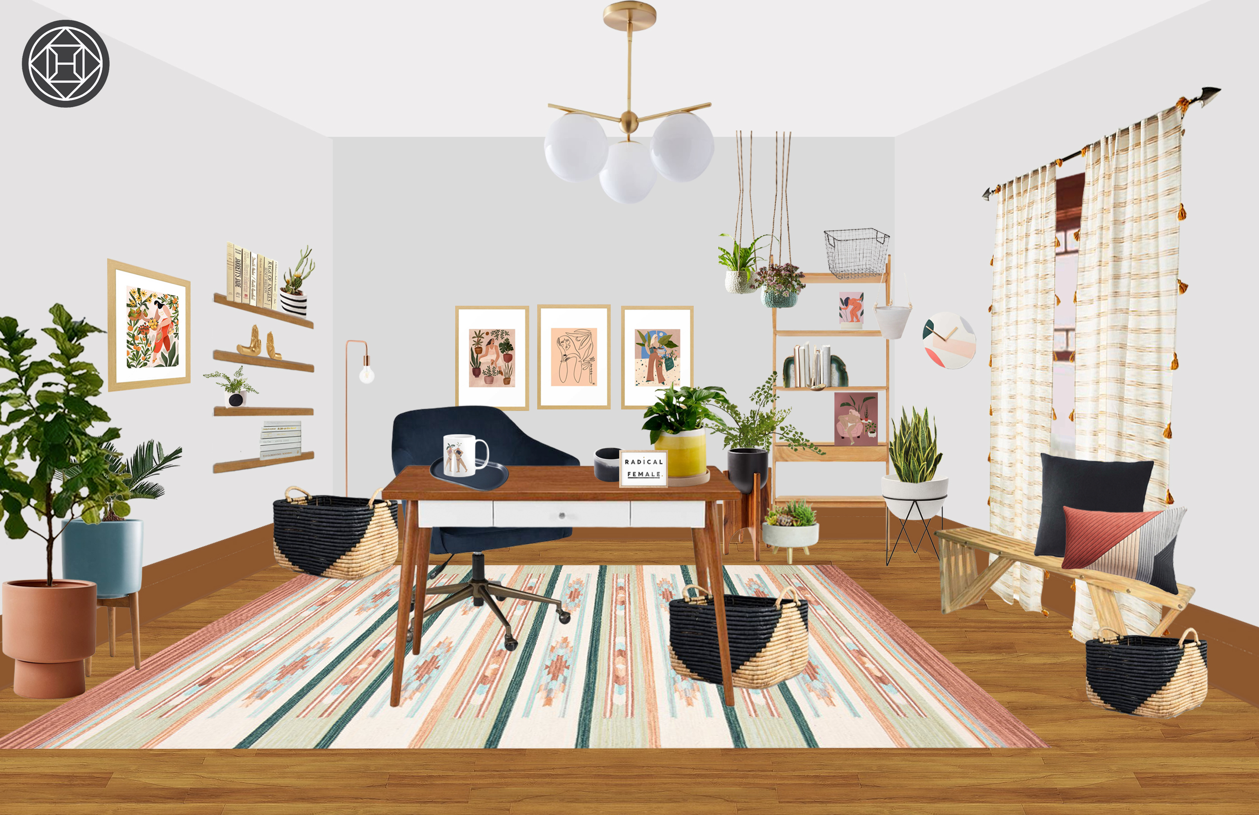 Modern, Eclectic, Bohemian Office Design by Havenly Interior ... on radical architecture, perspective drawing interior, radical design art,