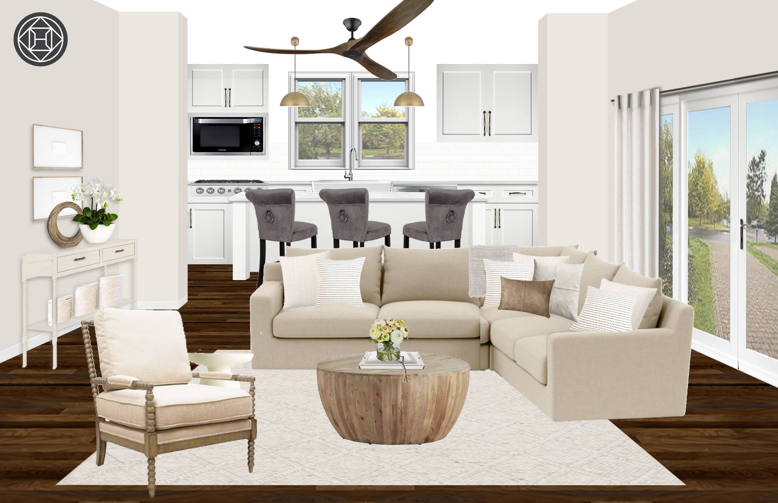 Modern Rustic Transitional Living Room Design By Havenly
