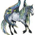 Riding pegasus Mustang Cherry Spotted Blanket