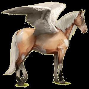 Riding pegasus Purebred Spanish Horse Cremello