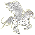 Riding pegasus Quarter Horse Palomino