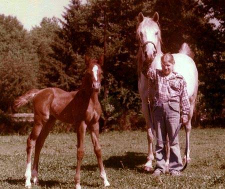 1971 mare RANAILA #71275 (Grey Knight x Imrana) and 1979 filly Hu-Zaraa, by Zhar-Raskal; pictured with daughter, Pauline.