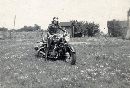 Gloria, an early bike rider on her bikes during 1947 & 1948