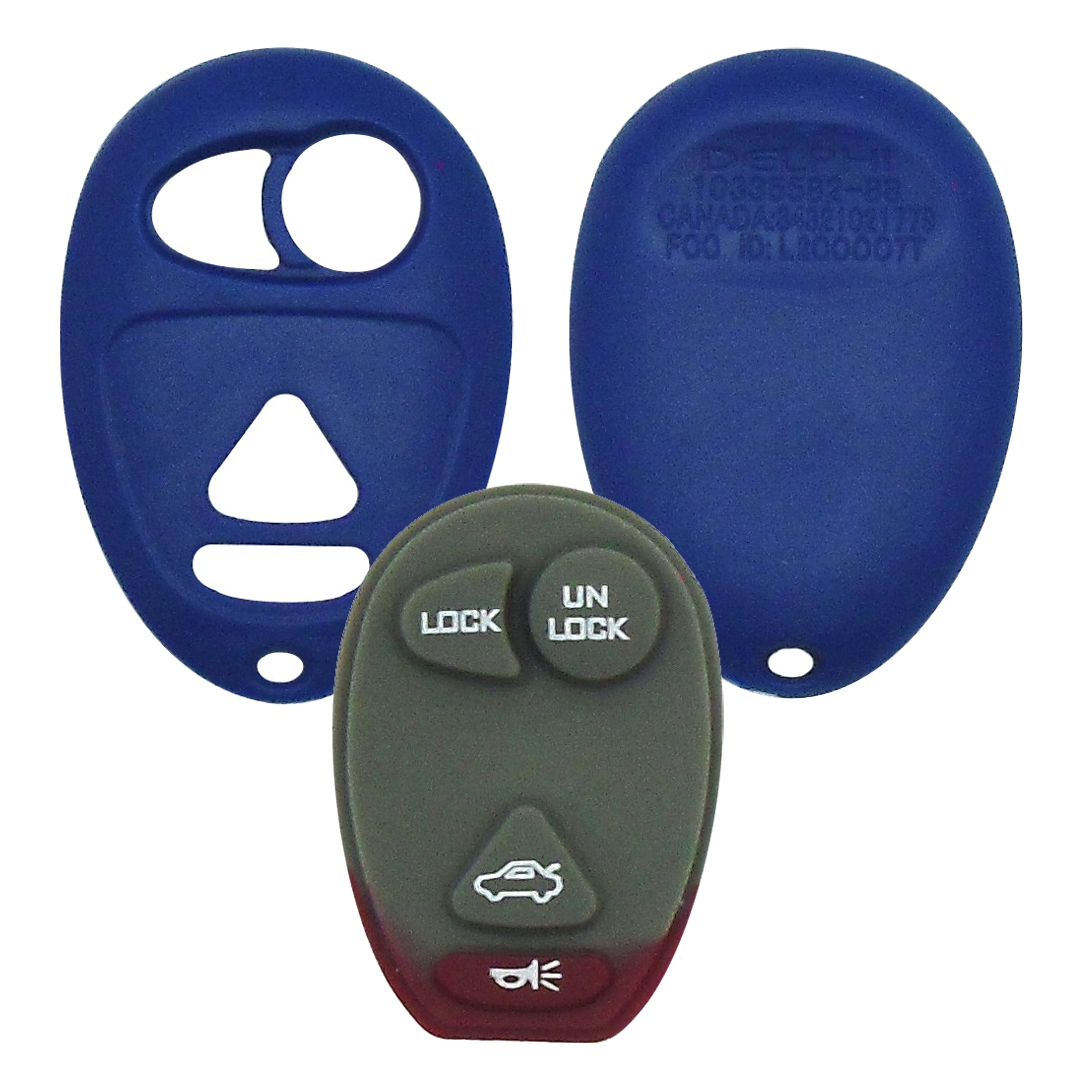 GM - 4 Button Blue Remote Replacement Shell