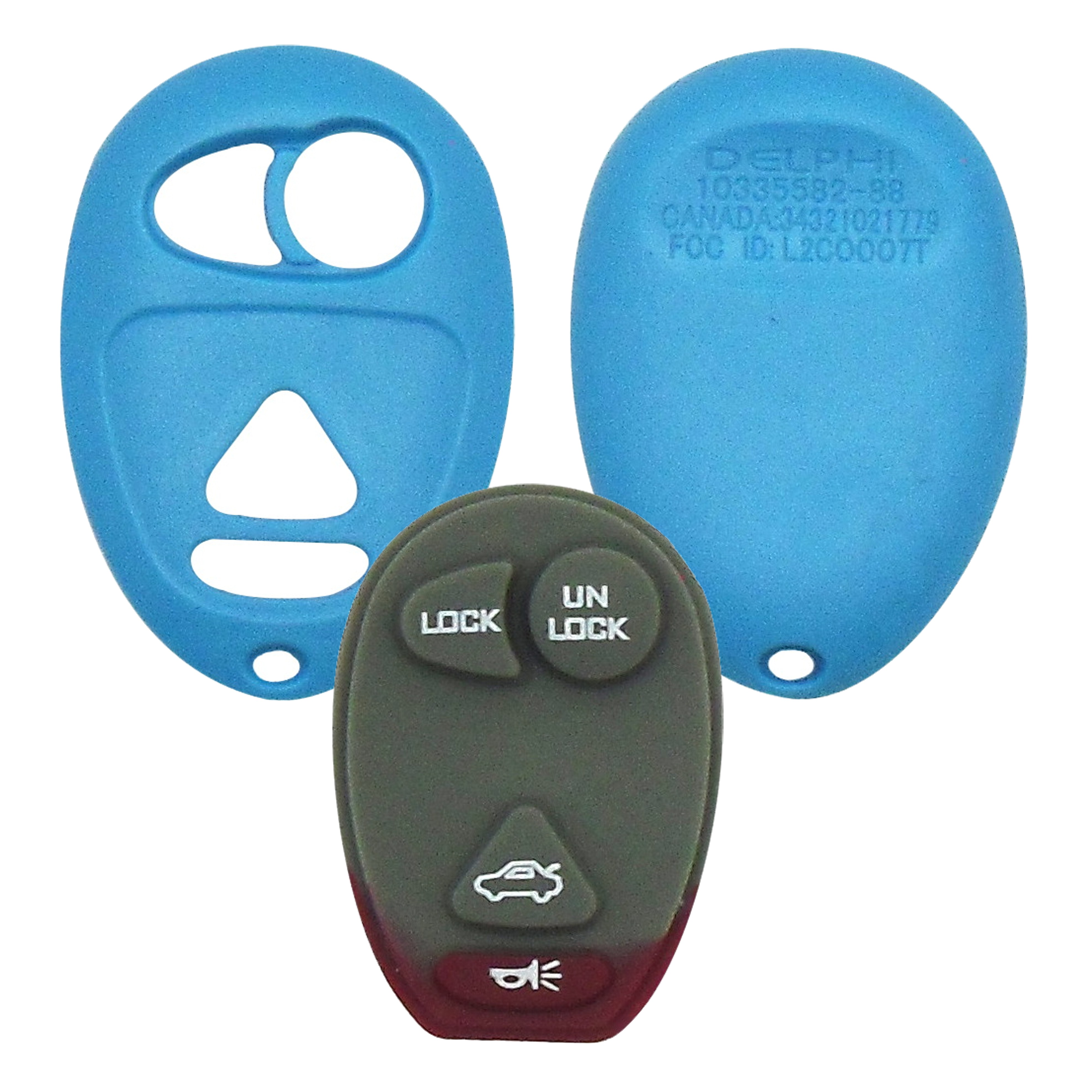 GM - 4 Button Teal Remote Replacement Shell
