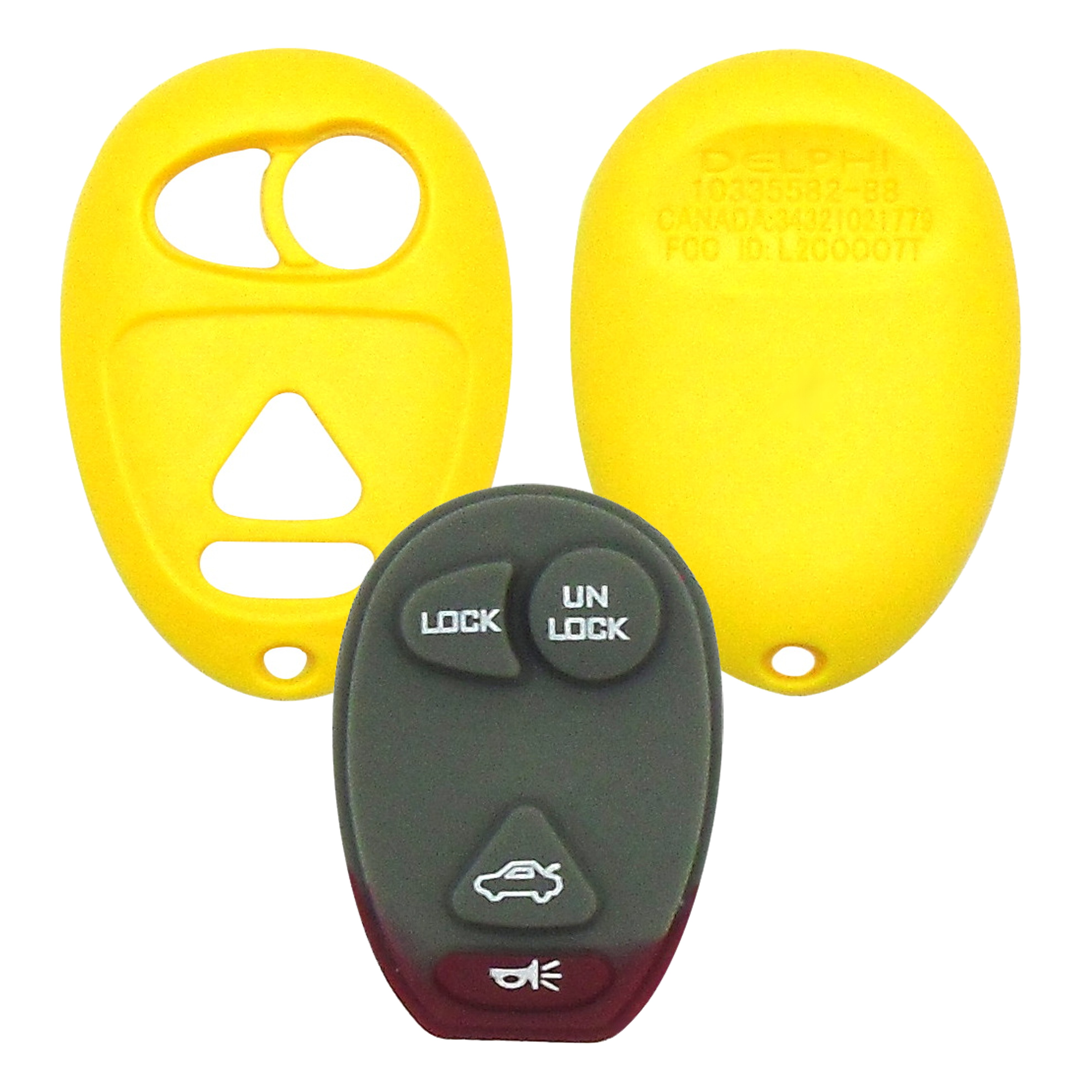 GM - 4 Button Yellow Remote Replacement Shell
