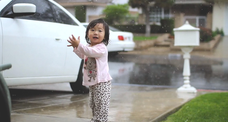 15 month old little girl seeing rain for first time