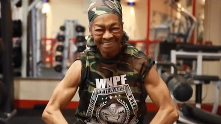 grandma shows off muscles