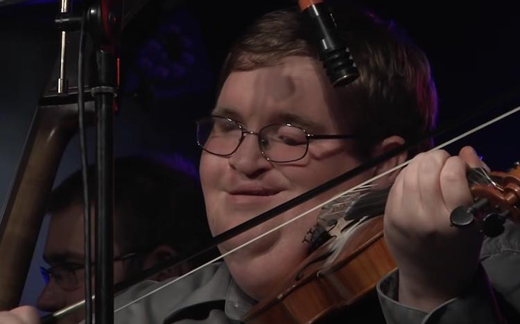 blind man playing fiddle