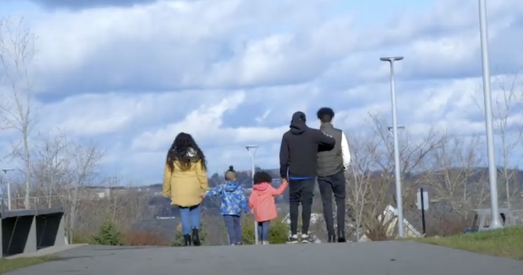 family walking on the street