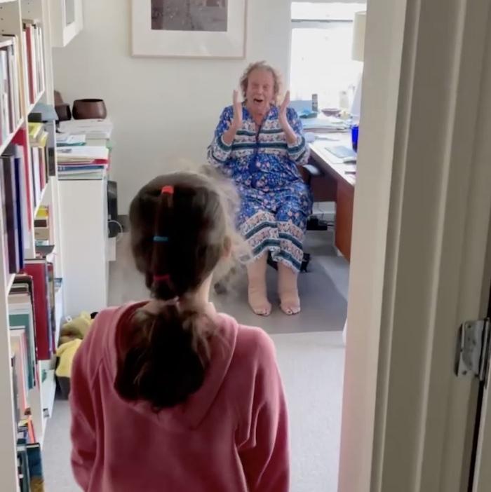 grandma surprised to see granddaughter