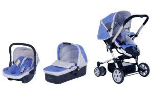 Travel system stroller bayi dengan fitur lengkap: kanopi, sandaran multifungsi, keranjang perlengkapan.