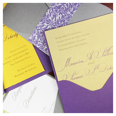 Metallic custom printed invitations