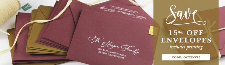 Save 15% on all envelopes, blank or printed