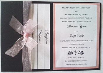 Custom Metallic Pocket Fold Wedding Invitation