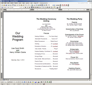 Word Template For Foil Frame Trifold Programs