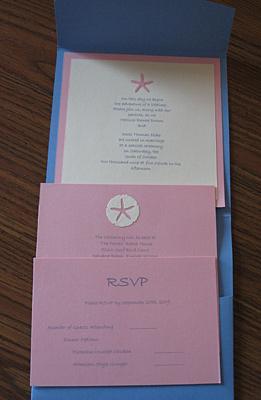 Inside Melissa's sea blue wedding invitation