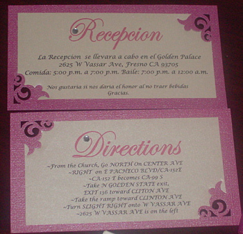Mayra's Handmade Pocket Fold Wedding Invitation reception and direction cards