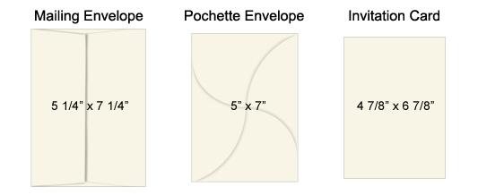 Rectangular pochette invitation kit size key