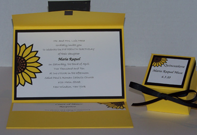 Crocum & Ebenum sunflower Quinceañera pocketfold and favor box