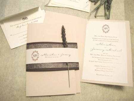 Wedding invitation booklet using Vice Versa Linteum and LCI Ecru Cardstock