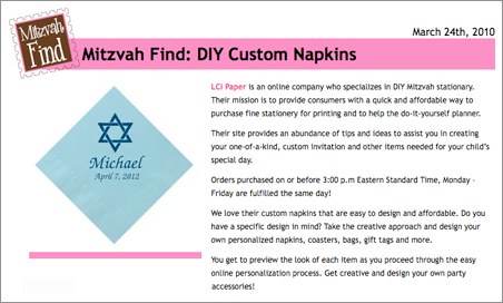 Custom Printed Bar Mitzvah Napkins Featured on Mitzvah Market