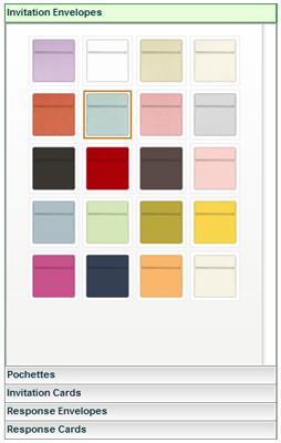 LCI Paper's Invitation Builder Envelope Color Choices