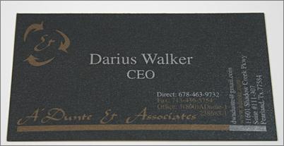 Darius Walker's Stardream Onyx business card