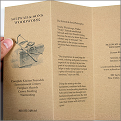 Savanna Tindalo wood grain card stock paper to make a brochure