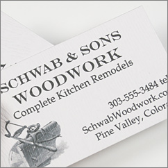 Savanna Limba wood grain card stock used in the design of this business card