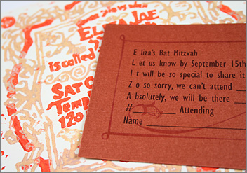 Copper Ore response card with Bat Mitzvah invitation