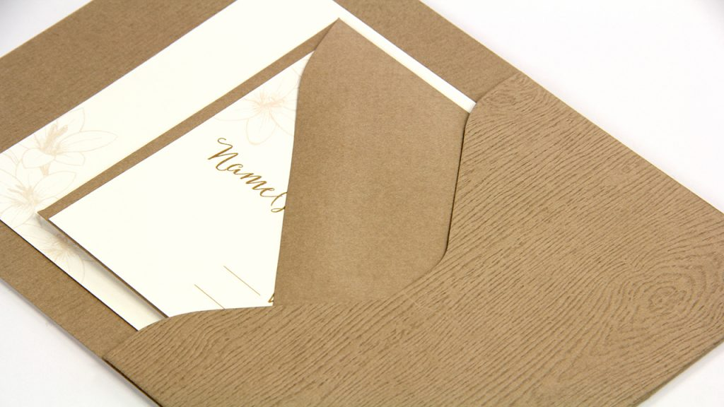 Tindalo Wood Grain Pocket and Envelope Invitation and Response Card Assembly