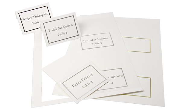 4-up place cards blank, printed, and punched out