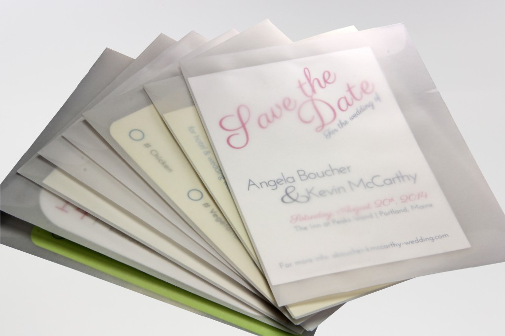 Save The Date Cards Seen through Translucent Vellum A2 Envelopes