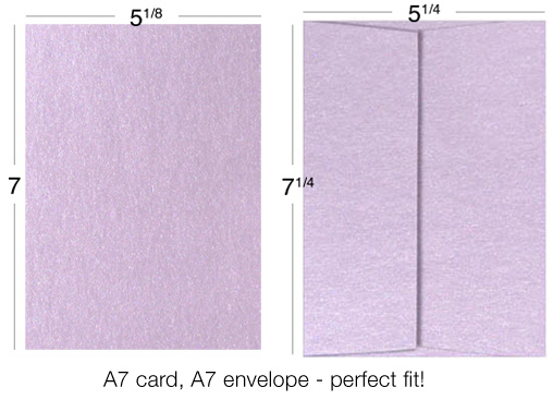 Example of matching 5x7 card and envelope size. Pair A7 card with A7 envelope