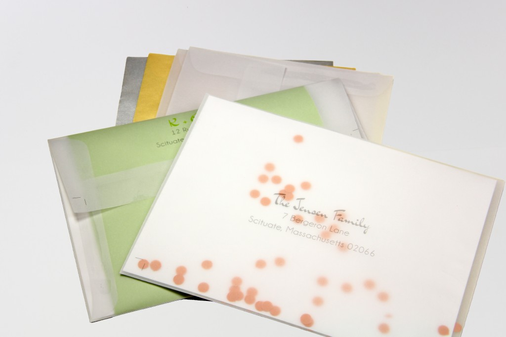 A7 translucent vellum envelopes, sheer, clear and metallic