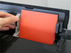 A7 envelope adjusting paper guide