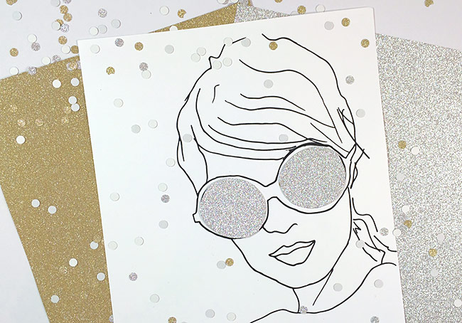 Art print embellished with MirriSPARKLE glitter paper by Aliie & Elle