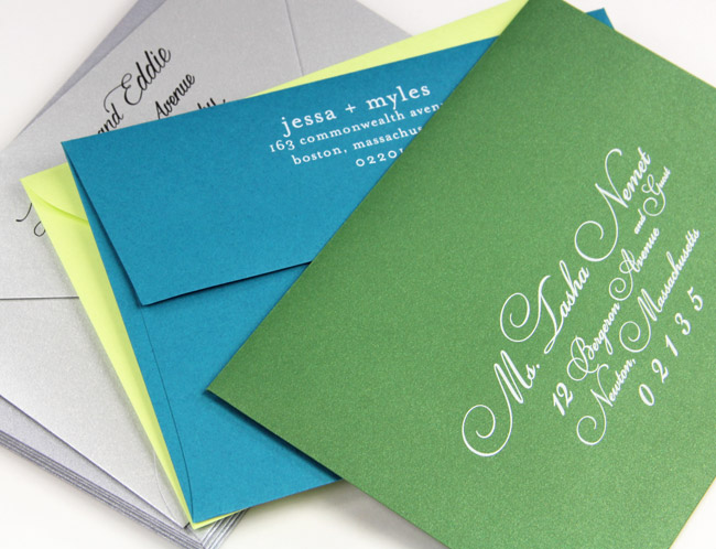 Colorful printed invitation envelopes in matte and metallic finishes - LCI Paper printing services