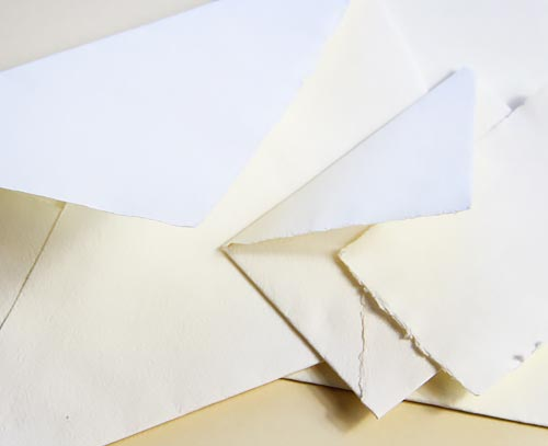 Handmade paper and envelopes in popular invitation and stationery sizes