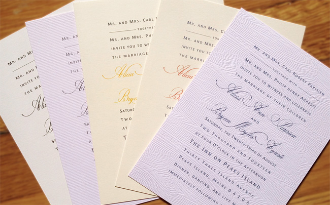 invitation cards with elegant typography in variety of colors