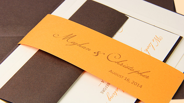 Orange, brown, and cream invitation with personalized paper band