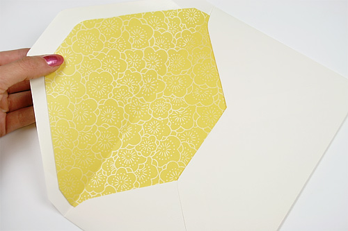 A9 baronial flap envelope lined with yellow floral Japanese pearlized paper