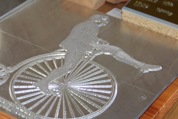 Big Wheel Press logo metal plate