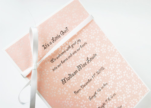 birth announcement card with words printed on decorative pearlized paper
