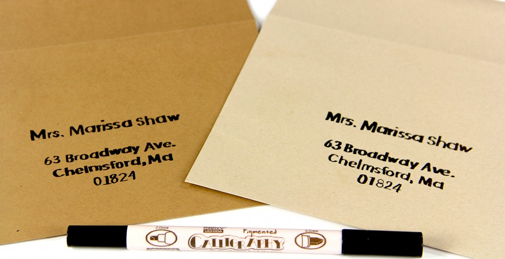 Kraft Envelopes Printed Using A Black Dual Tip Calligraphy Marker