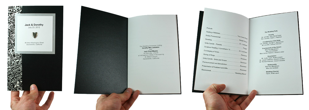 black damask on black metallic wedding program