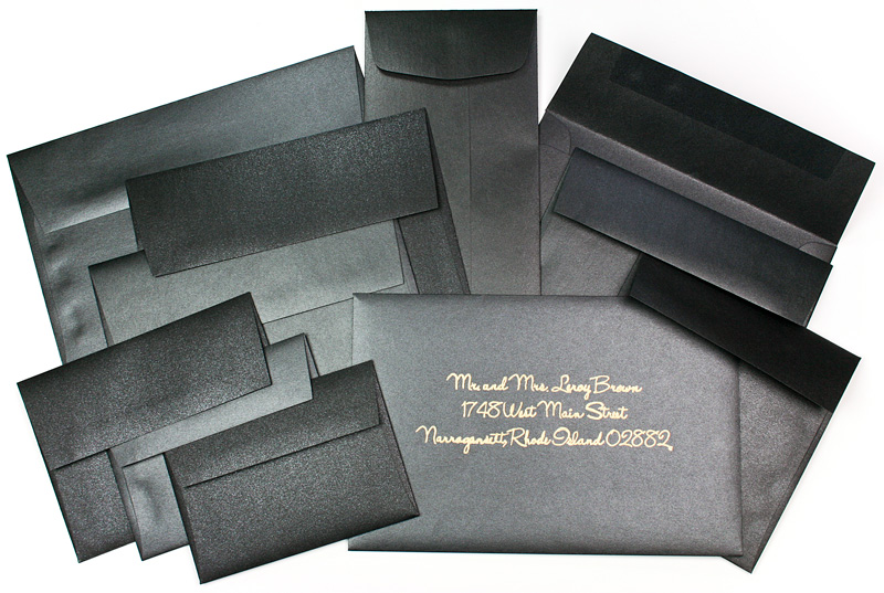 Array of Black Metallic Envelopes