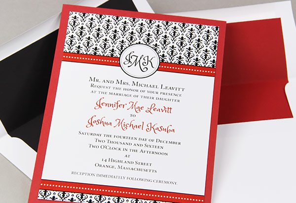 Red, Black And White Layered Wedding Invitations With Matching Lined  Envelopes